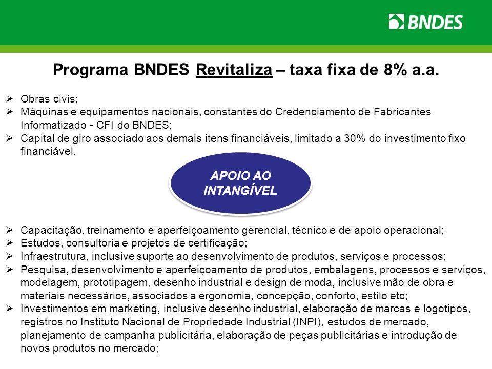 Programa BNDES Revitaliza – taxa fixa de 8% a.a. Obras civis; Máquinas e equipamentos nacionais, constantes do Credenciamento de Fabricantes Informati