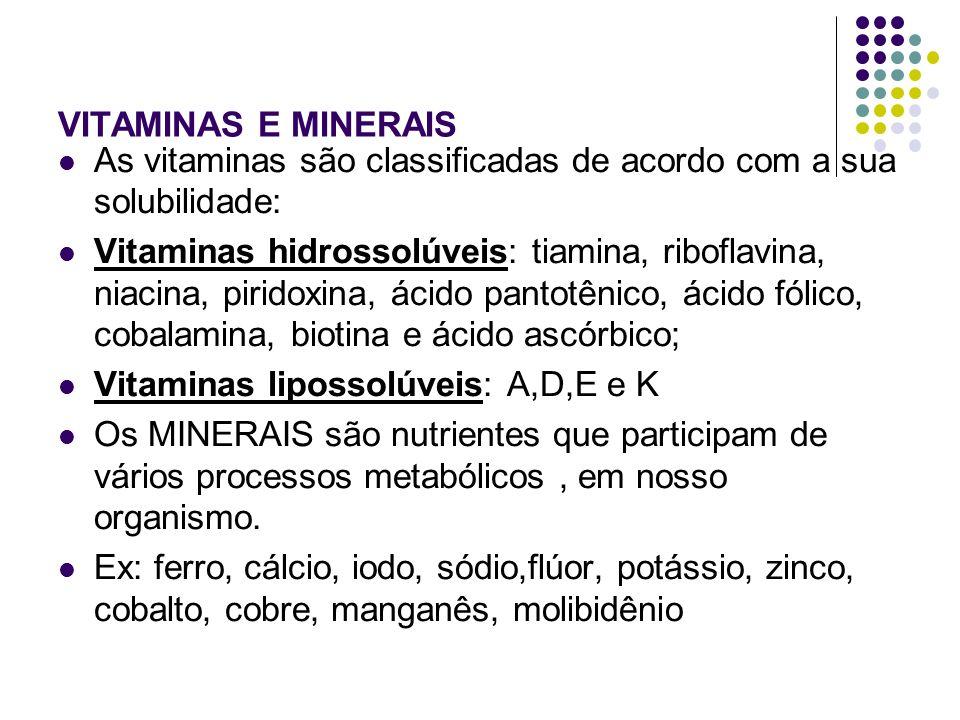 VITAMINAS E MINERAIS As vitaminas são classificadas de acordo com a sua solubilidade: Vitaminas hidrossolúveis: tiamina, riboflavina, niacina, piridox