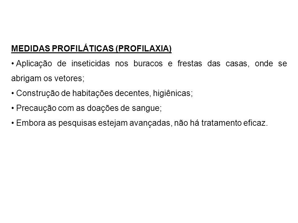 MEDIDAS PROFILÁTICAS (PROFILAXIA) Aplicação de inseticidas nos buracos e frestas das casas, onde se abrigam os vetores; Construção de habitações decen