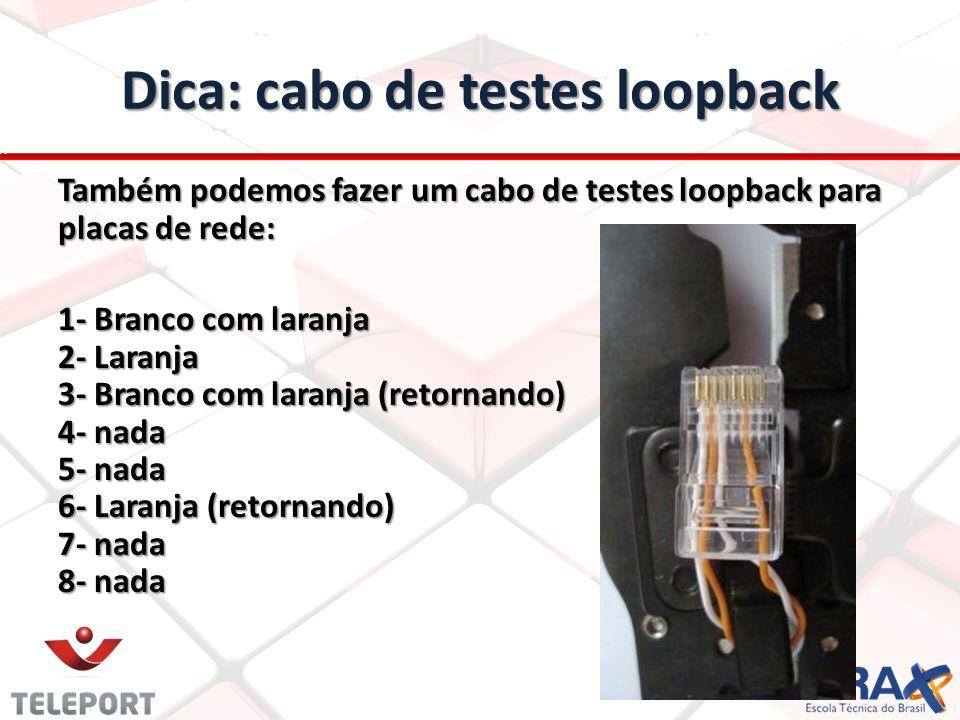 Dica: cabo de testes loopback Também podemos fazer um cabo de testes loopback para placas de rede: 1- Branco com laranja 2- Laranja 3- Branco com lara