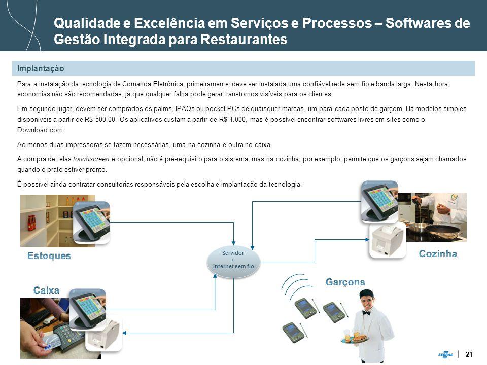 21 Implantação Qualidade e Excelência em Serviços e Processos – Softwares de Gestão Integrada para Restaurantes Para a instalação da tecnologia de Com