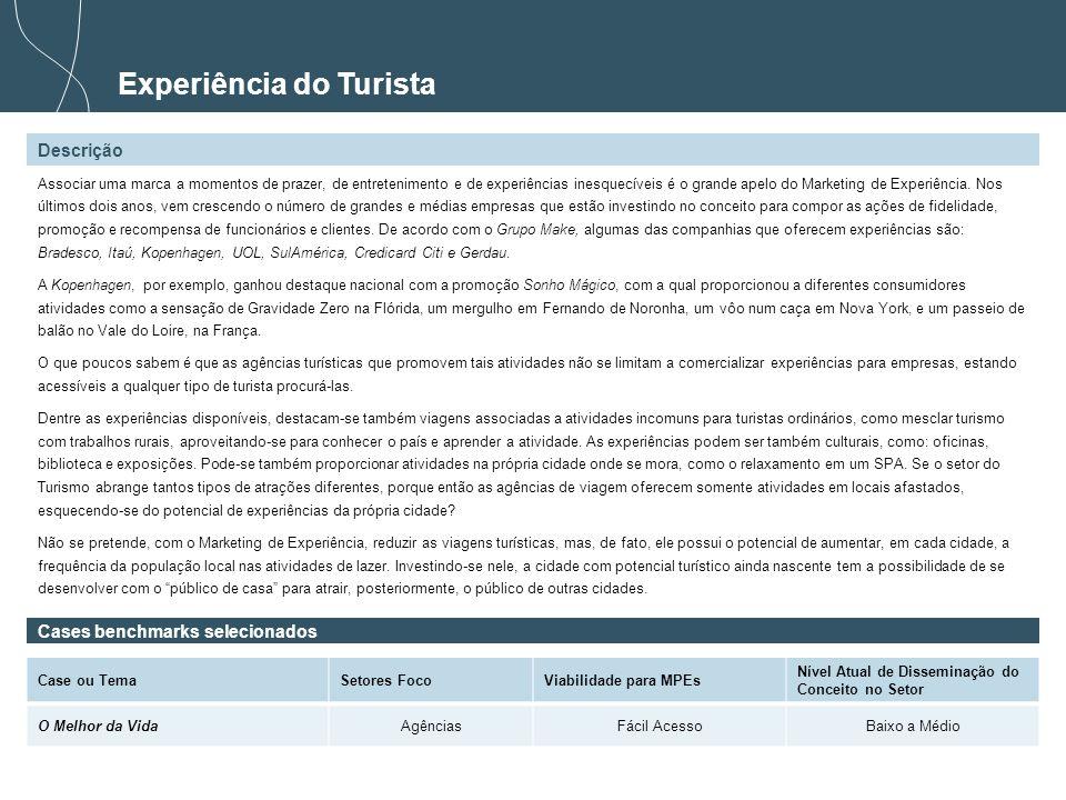 31 Experiência do Turista Descrição Cases benchmarks selecionados Case ou TemaSetores FocoViabilidade para MPEs Nível Atual de Disseminação do Conceit