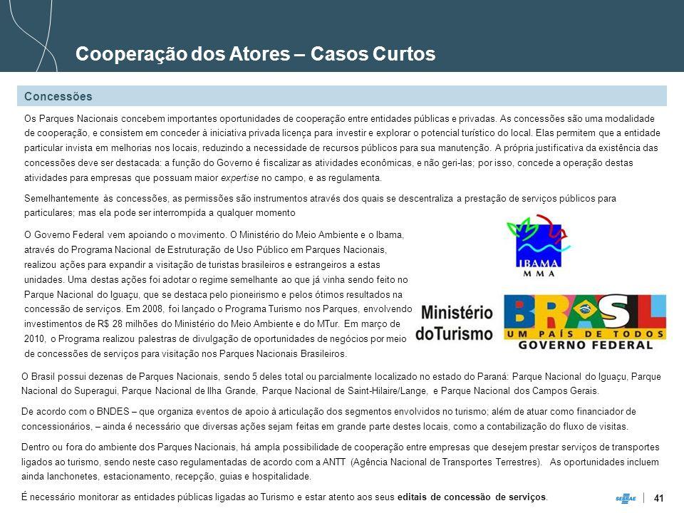 41 Cooperação dos Atores – Casos Curtos Concessões Os Parques Nacionais concebem importantes oportunidades de cooperação entre entidades públicas e pr