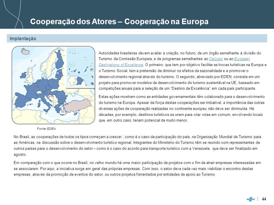 44 Autoridades brasileiras devem avaliar a criação, no futuro, de um órgão semelhante à divisão do Turismo da Comissão Europeia, e de programas semelh