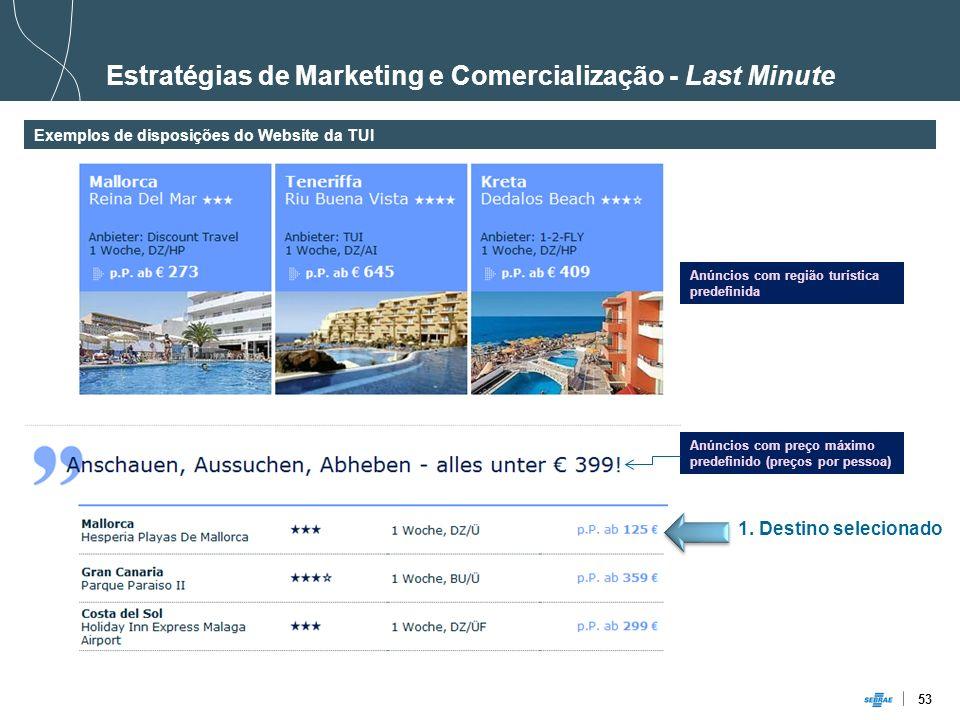 53 Estratégias de Marketing e Comercialização - Last Minute Exemplos de disposições do Website da TUI Anúncios com região turística predefinida Anúnci