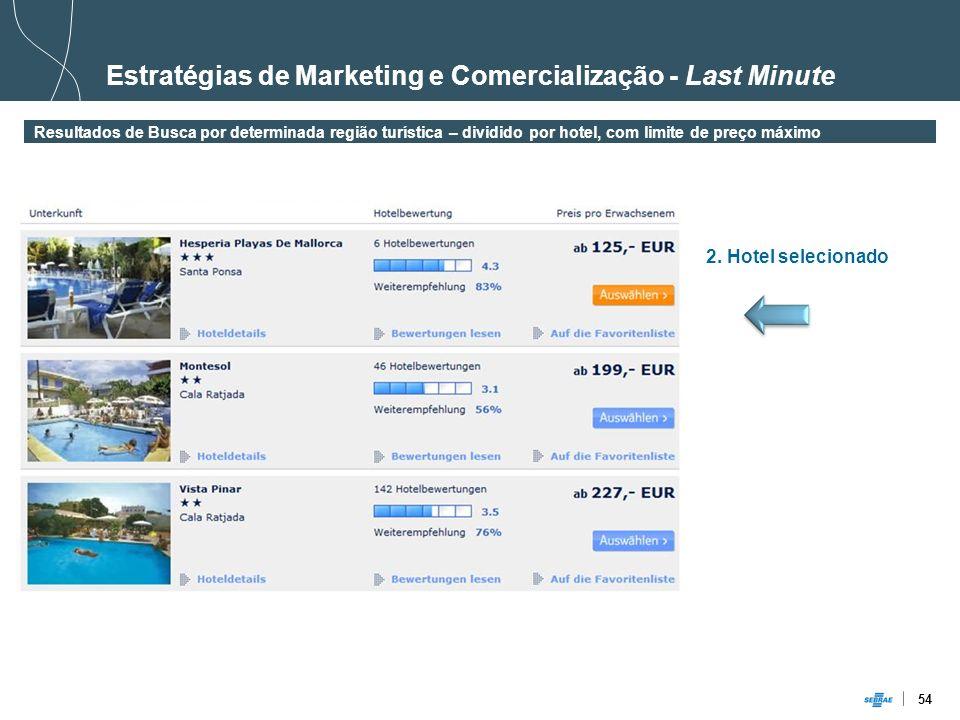 54 Estratégias de Marketing e Comercialização - Last Minute Resultados de Busca por determinada região turística – dividido por hotel, com limite de p