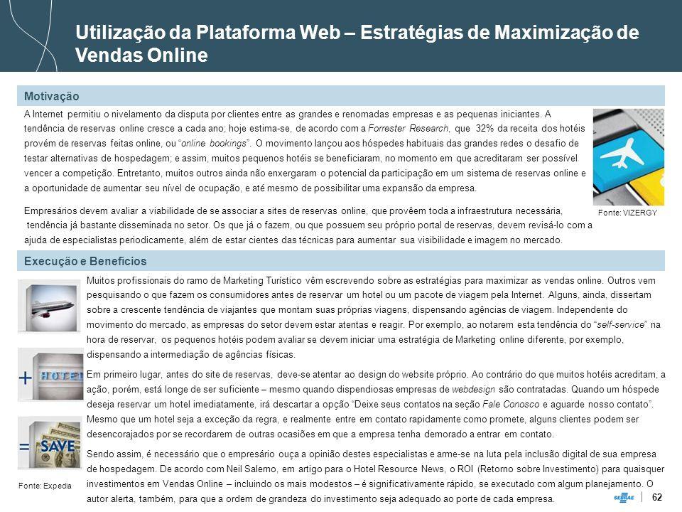 62 Utilização da Plataforma Web – Estratégias de Maximização de Vendas Online A Internet permitiu o nivelamento da disputa por clientes entre as grand