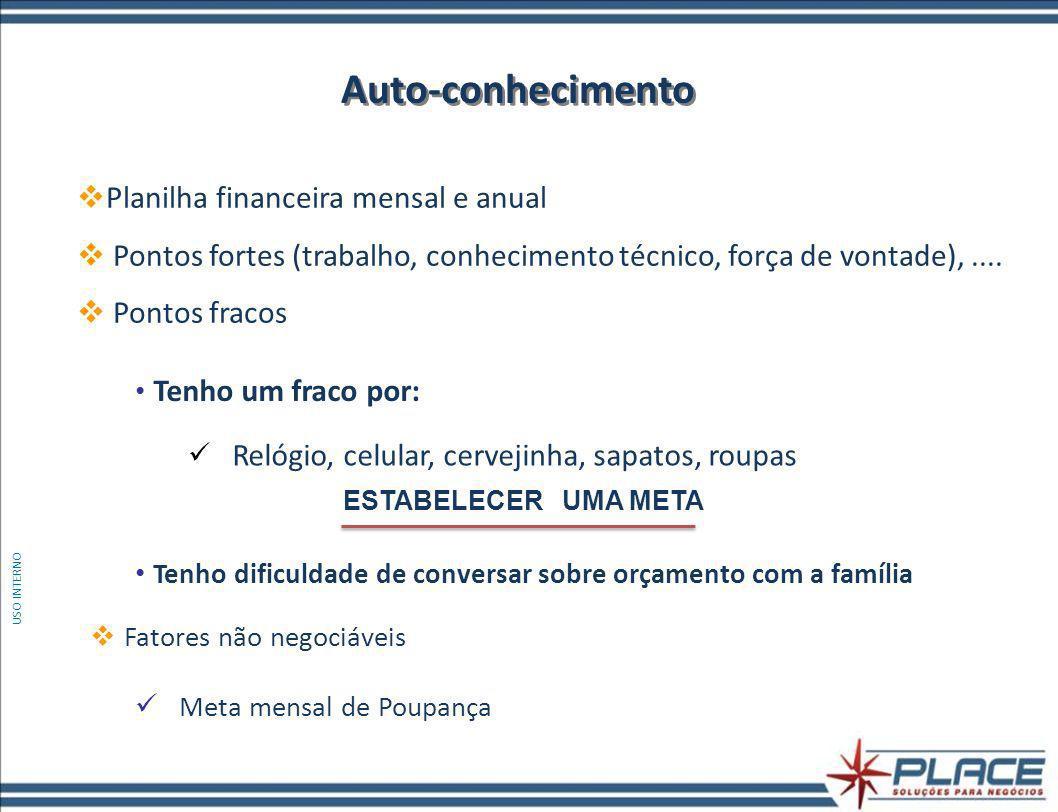Planilha financeira mensal e anual Pontos fortes (trabalho, conhecimento técnico, força de vontade),....