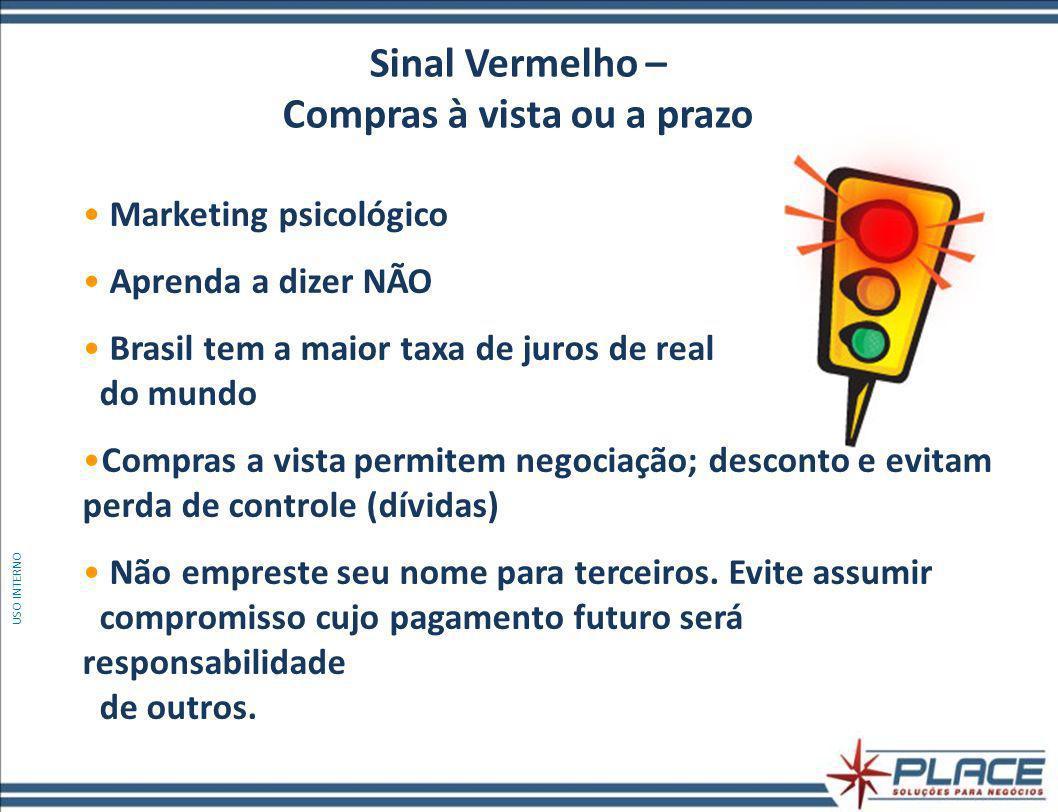 Marketing psicológico Aprenda a dizer NÃO Brasil tem a maior taxa de juros de real do mundo Compras a vista permitem negociação; desconto e evitam perda de controle (dívidas) Não empreste seu nome para terceiros.
