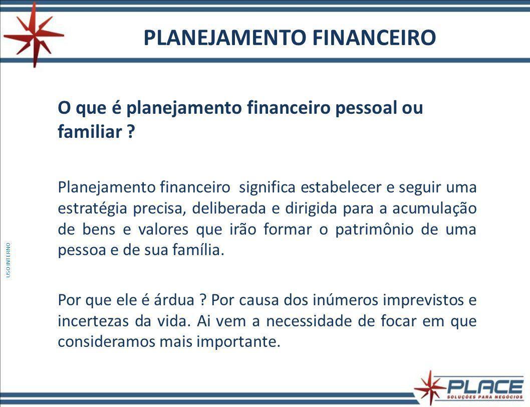 PLANEJAMENTO FINANCEIRO O que é planejamento financeiro pessoal ou familiar .