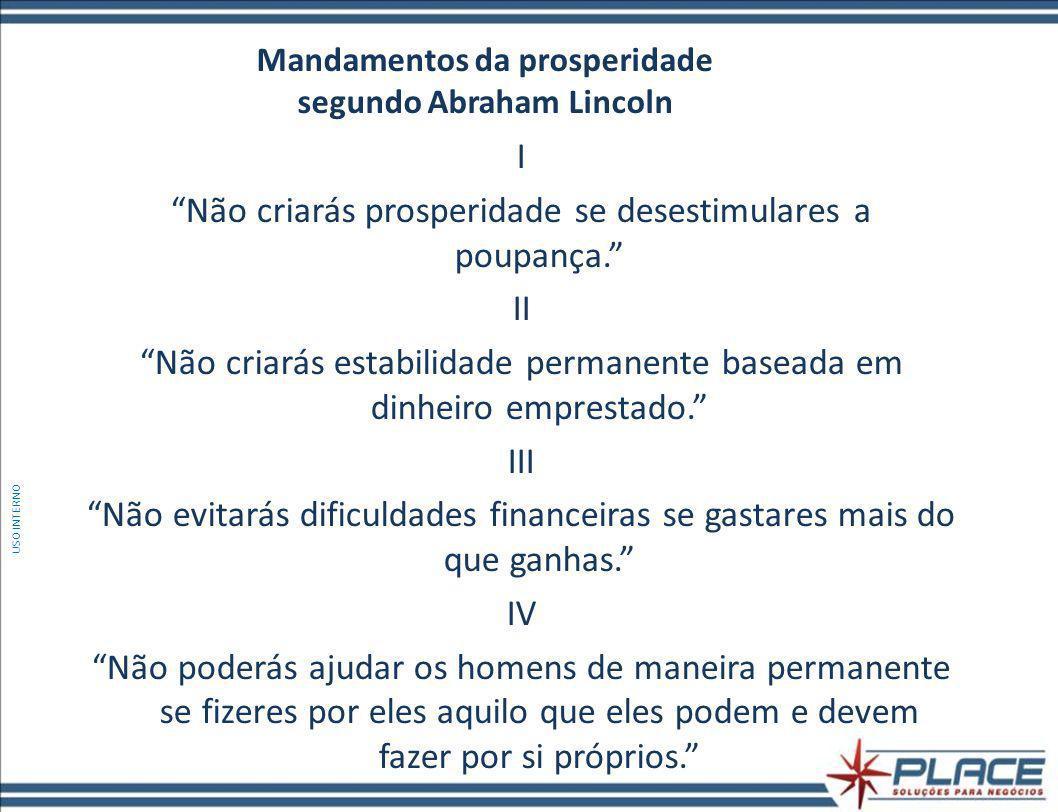 Mandamentos da prosperidade segundo Abraham Lincoln I Não criarás prosperidade se desestimulares a poupança.