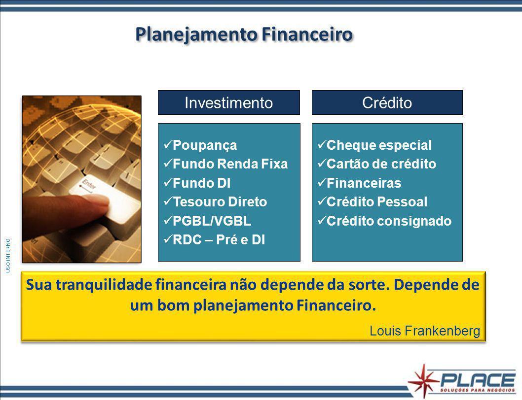Planejamento Financeiro CréditoInvestimento Poupança Fundo Renda Fixa Fundo DI Tesouro Direto PGBL/VGBL RDC – Pré e DI Cheque especial Cartão de crédito Financeiras Crédito Pessoal Crédito consignado Sua tranquilidade financeira não depende da sorte.