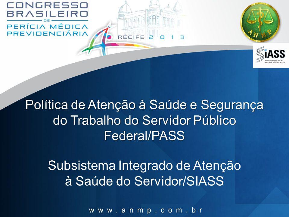 Política de Atenção à Saúde e Segurança do Trabalho do Servidor Público Federal/PASS Subsistema Integrado de Atenção à Saúde do Servidor/SIASS