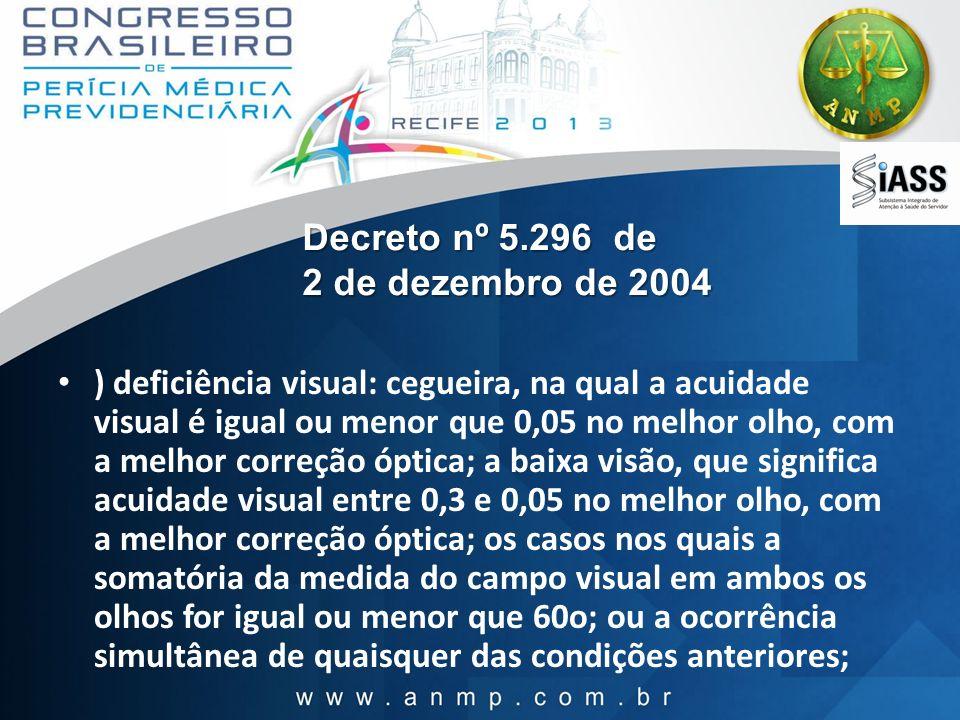 Decreto nº 5.296 de 2 de dezembro de 2004 ) deficiência visual: cegueira, na qual a acuidade visual é igual ou menor que 0,05 no melhor olho, com a me