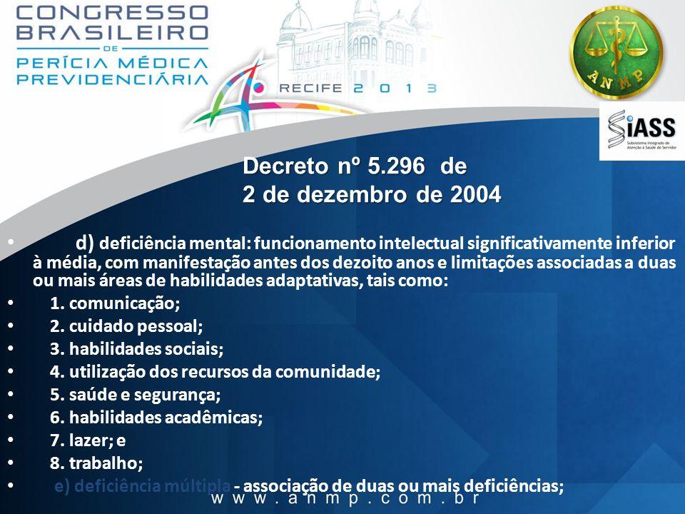 Decreto nº 5.296 de 2 de dezembro de 2004 d) deficiência mental: funcionamento intelectual significativamente inferior à média, com manifestação antes
