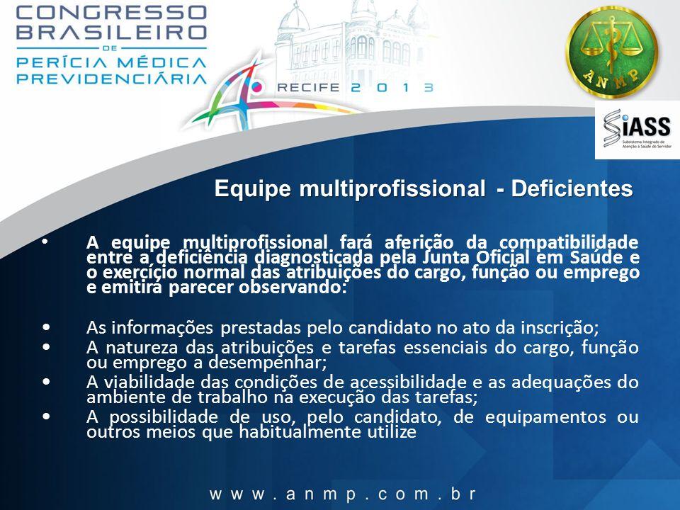 Equipe multiprofissional - Deficientes A equipe multiprofissional fará aferição da compatibilidade entre a deficiência diagnosticada pela Junta Oficia