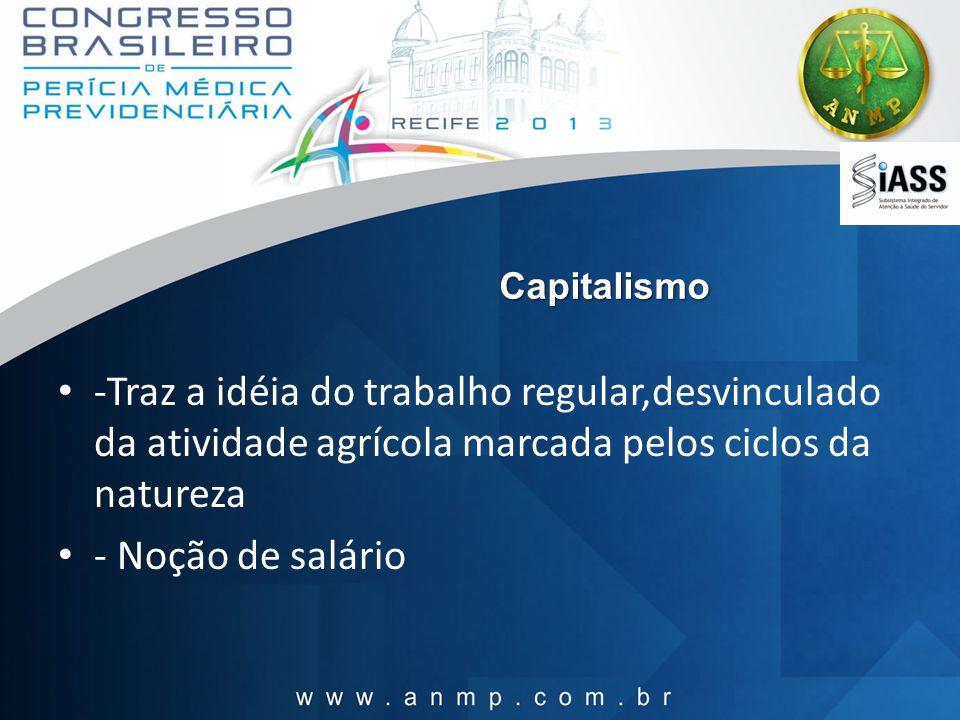 Capitalismo -Traz a idéia do trabalho regular,desvinculado da atividade agrícola marcada pelos ciclos da natureza - Noção de salário