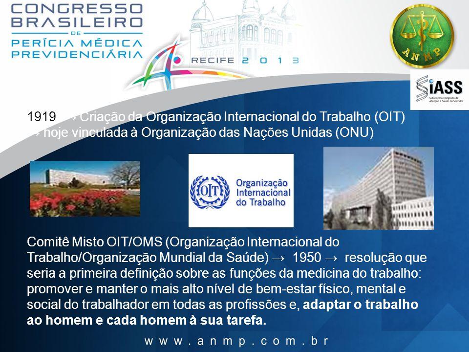 1919 Criação da Organização Internacional do Trabalho (OIT) hoje vinculada à Organização das Nações Unidas (ONU) Comitê Misto OIT/OMS (Organização Int