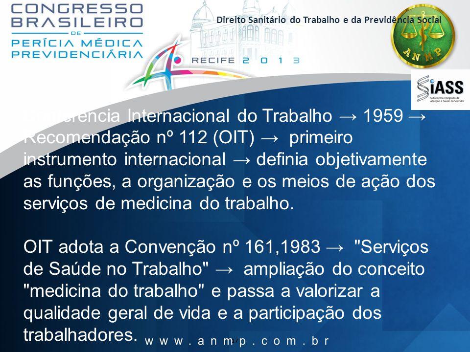 Direito Sanitário do Trabalho e da Previdência Social 17 Conferência Internacional do Trabalho 1959 Recomendação nº 112 (OIT) primeiro instrumento int