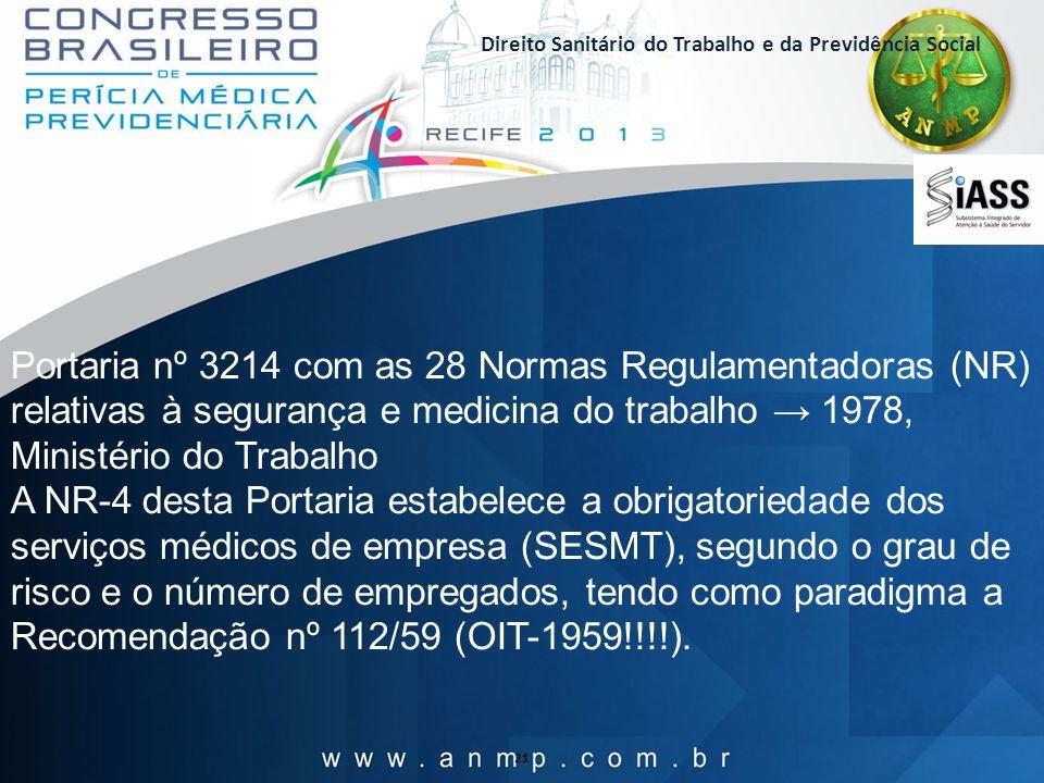 Direito Sanitário do Trabalho e da Previdência Social 21 Portaria nº 3214 com as 28 Normas Regulamentadoras (NR) relativas à segurança e medicina do t