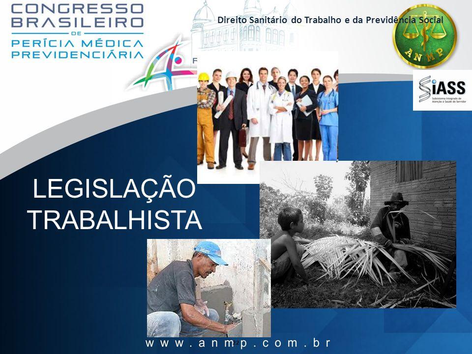 Direito Sanitário do Trabalho e da Previdência Social 22 LEGISLAÇÃO TRABALHISTA