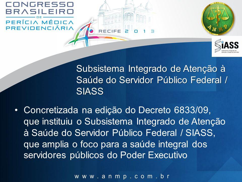 Subsistema Integrado de Atenção à Saúde do Servidor Público Federal / SIASS Concretizada na edição do Decreto 6833/09, que instituiu o Subsistema Inte