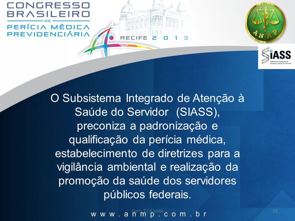 Doris T L F Leite31 O Subsistema Integrado de Atenção à Saúde do Servidor (SIASS), preconiza a padronização e qualificação da perícia médica, estabele