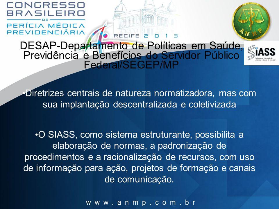 DESAP-Departamento de Políticas em Saúde, Previdência e Benefícios do Servidor Público Federal/SEGEP/MP Diretrizes centrais de natureza normatizadora,