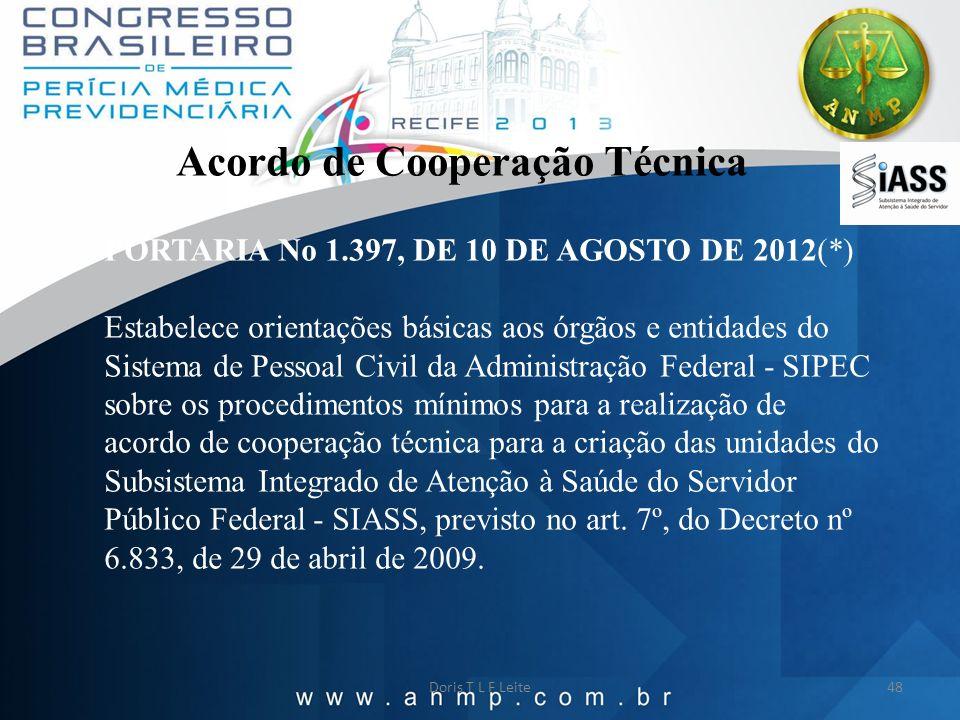 Doris T L F Leite48 Acordo de Cooperação Técnica PORTARIA No 1.397, DE 10 DE AGOSTO DE 2012(*) Estabelece orientações básicas aos órgãos e entidades d