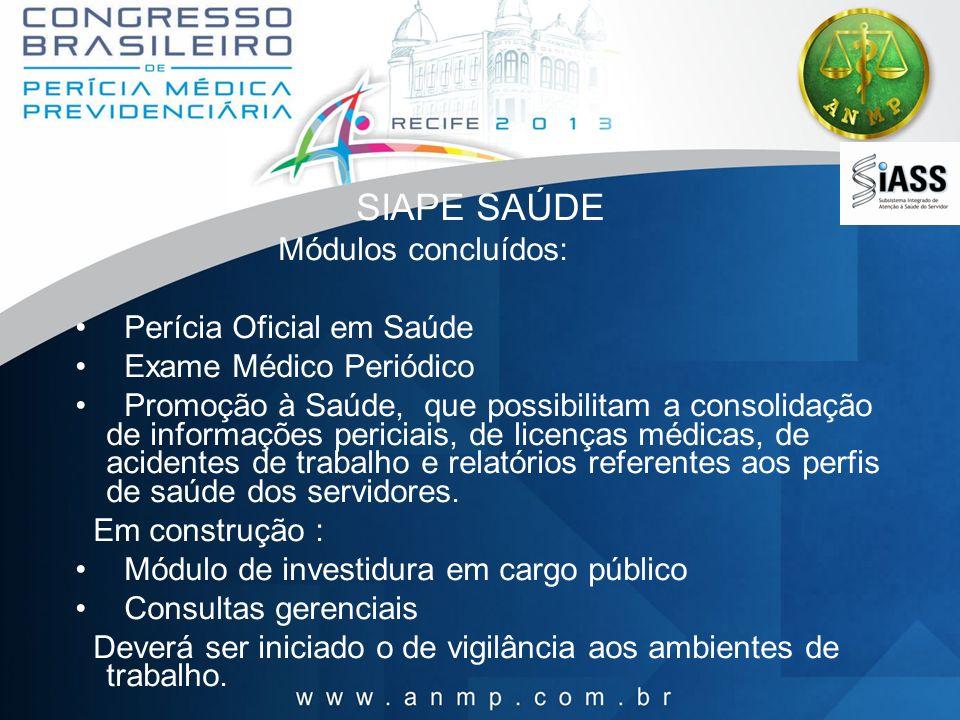 SIAPE SAÚDE Módulos concluídos: Perícia Oficial em Saúde Exame Médico Periódico Promoção à Saúde, que possibilitam a consolidação de informações peric