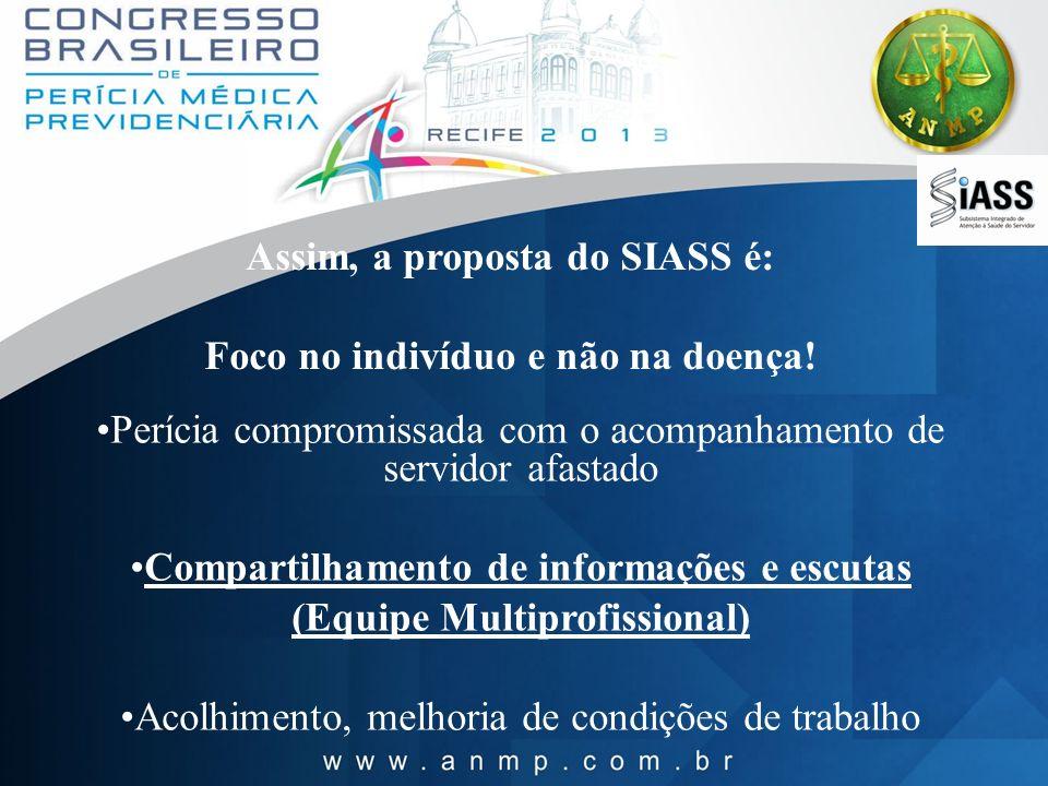 Assim, a proposta do SIASS é: Foco no indivíduo e não na doença! Perícia compromissada com o acompanhamento de servidor afastado Compartilhamento de i