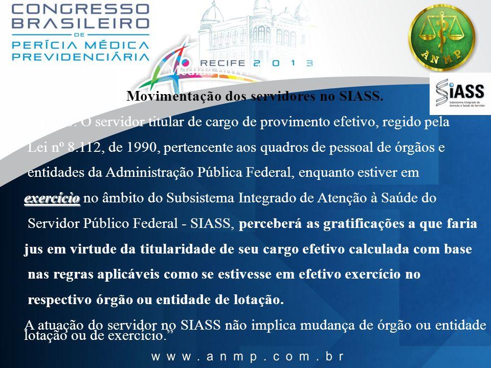 Medida provisória 479 /2009 Movimentação dos servidores no SIASS. Art. 26. O servidor titular de cargo de provimento efetivo, regido pela Lei nº 8.112
