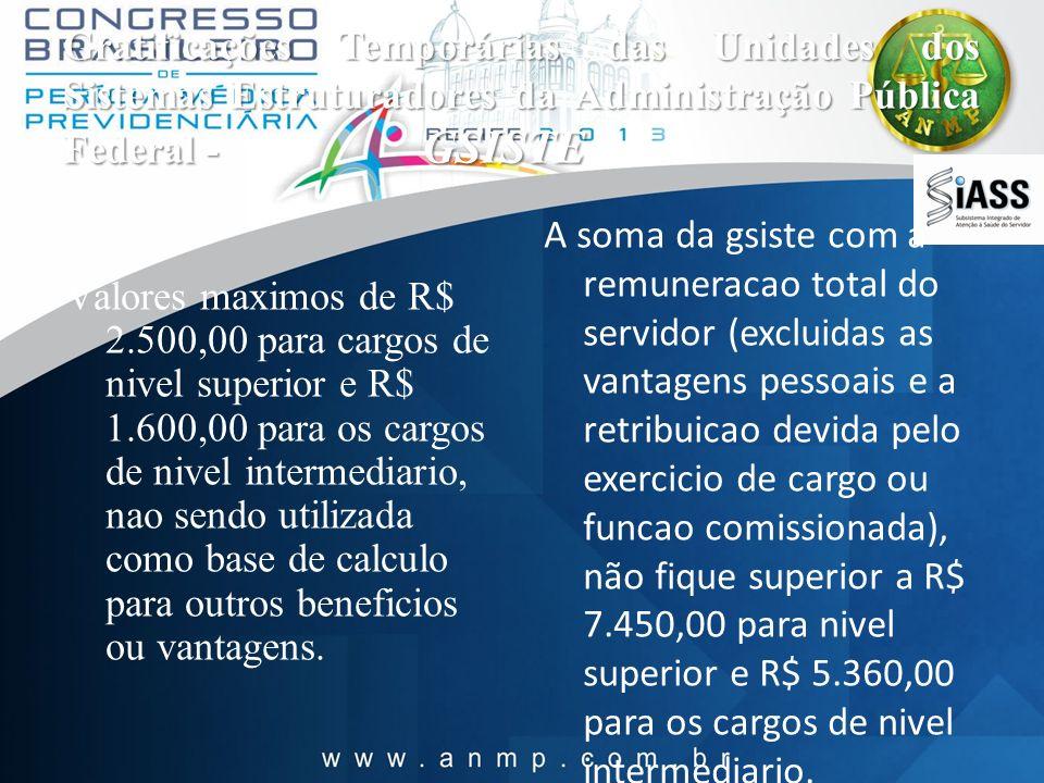 Gratificações Temporárias das Unidades dos Sistemas Estruturadores da Administração Pública Federal - GSISTE V alores maximos de R$ 2.500,00 para carg