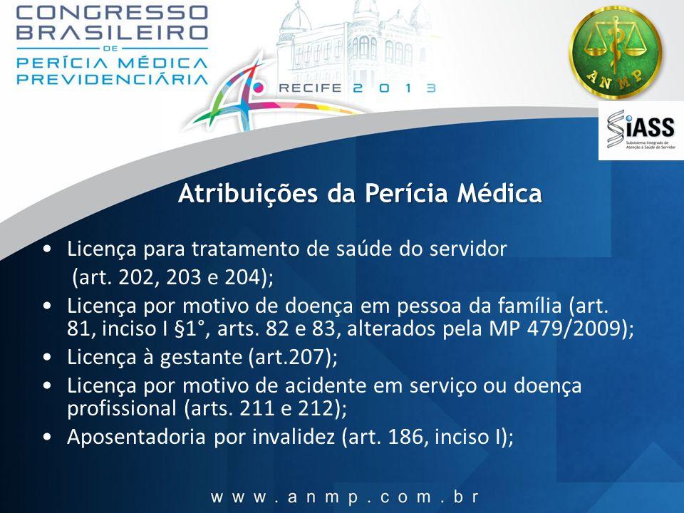 Atribuições da Perícia Médica Licença para tratamento de saúde do servidor (art. 202, 203 e 204); Licença por motivo de doença em pessoa da família (a