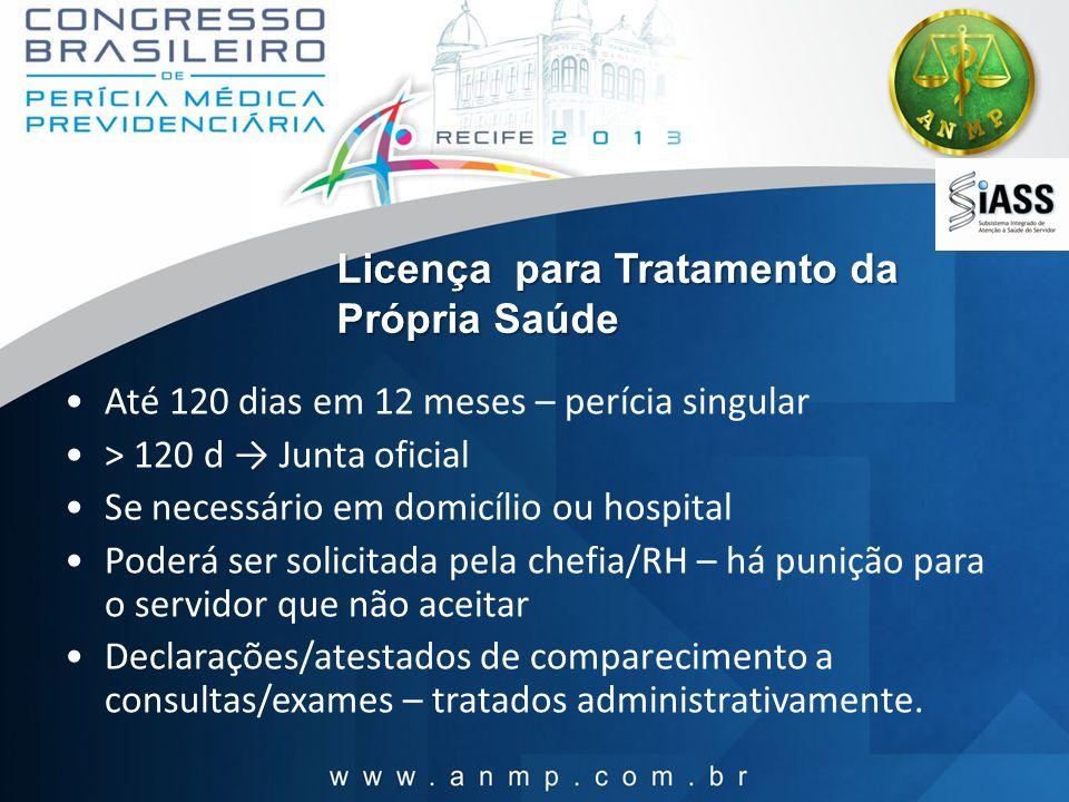 Licença para Tratamento da Própria Saúde Até 120 dias em 12 meses – perícia singular > 120 d Junta oficial Se necessário em domicílio ou hospital Pode