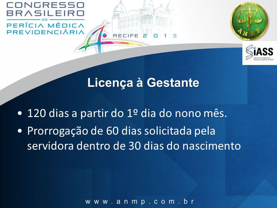 Licença à Gestante 120 dias a partir do 1º dia do nono mês. Prorrogação de 60 dias solicitada pela servidora dentro de 30 dias do nascimento