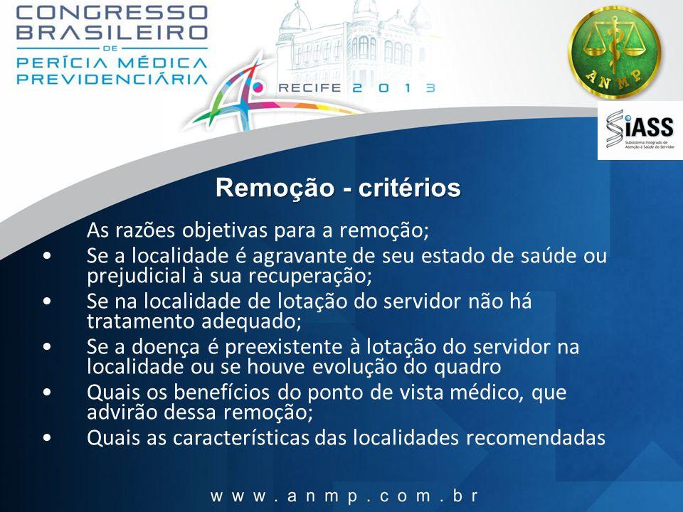Remoção - critérios As razões objetivas para a remoção; Se a localidade é agravante de seu estado de saúde ou prejudicial à sua recuperação; Se na loc