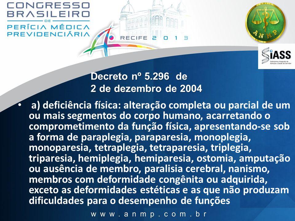 Decreto nº 5.296 de 2 de dezembro de 2004 a) deficiência física: alteração completa ou parcial de um ou mais segmentos do corpo humano, acarretando o