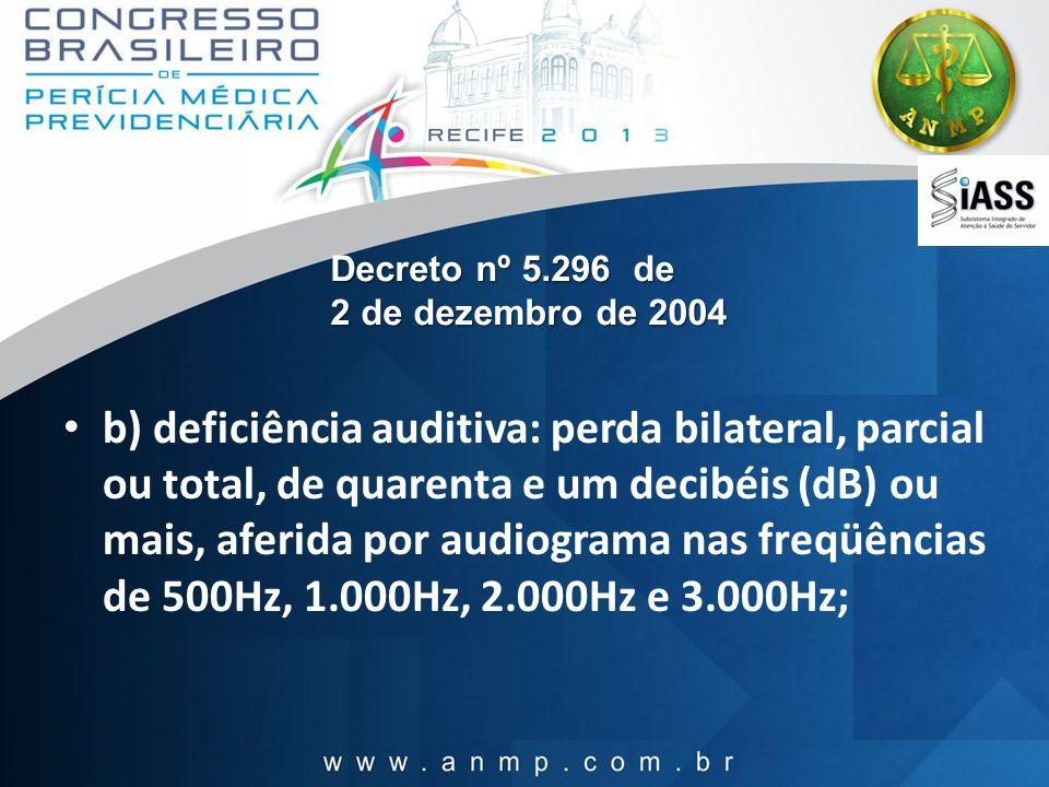 Decreto nº 5.296 de 2 de dezembro de 2004 b) deficiência auditiva: perda bilateral, parcial ou total, de quarenta e um decibéis (dB) ou mais, aferida
