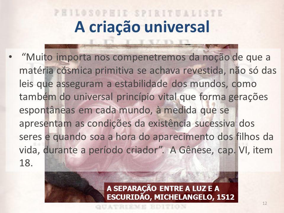 A SEPARAÇÃO ENTRE A LUZ E A ESCURIDÃO, MICHELANGELO, 1512 Muito importa nos compenetremos da noção de que a matéria cósmica primitiva se achava revest
