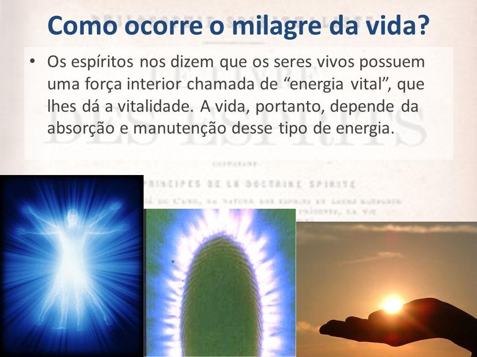 Como ocorre o milagre da vida? Os espíritos nos dizem que os seres vivos possuem uma força interior chamada de energia vital, que lhes dá a vitalidade