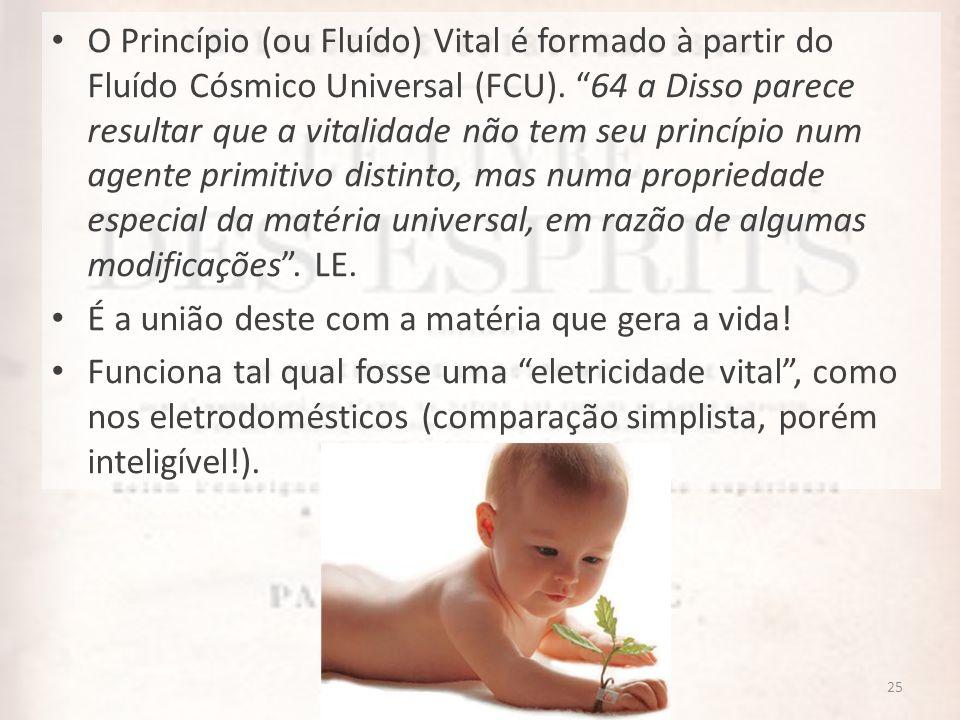 25 O Princípio (ou Fluído) Vital é formado à partir do Fluído Cósmico Universal (FCU). 64 a Disso parece resultar que a vitalidade não tem seu princíp