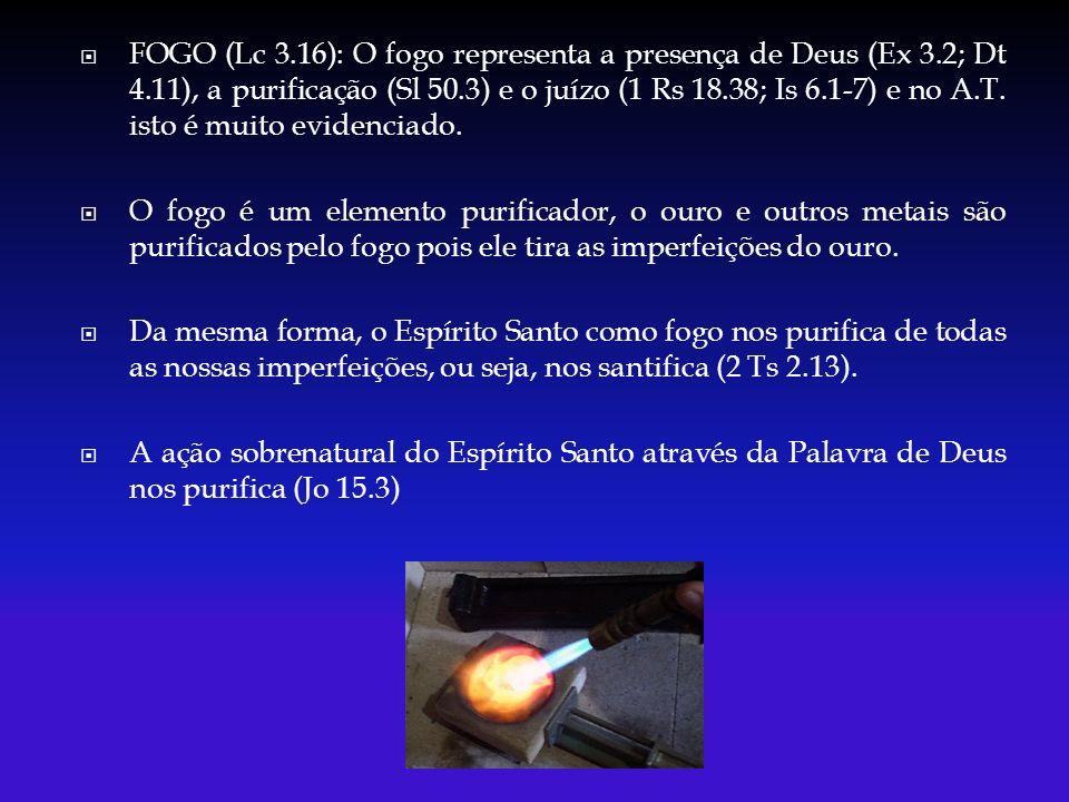 FOGO (Lc 3.16): O fogo representa a presença de Deus (Ex 3.2; Dt 4.11), a purificação (Sl 50.3) e o juízo (1 Rs 18.38; Is 6.1-7) e no A.T.