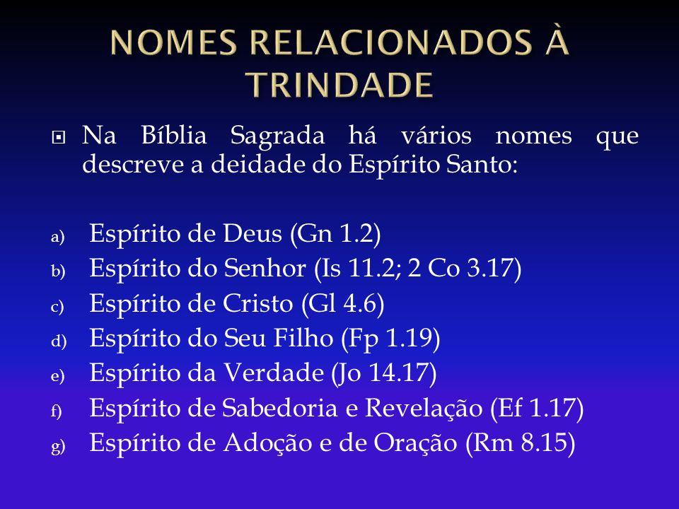 Na Bíblia Sagrada há vários nomes que descreve a deidade do Espírito Santo: a) Espírito de Deus (Gn 1.2) b) Espírito do Senhor (Is 11.2; 2 Co 3.17) c) Espírito de Cristo (Gl 4.6) d) Espírito do Seu Filho (Fp 1.19) e) Espírito da Verdade (Jo 14.17) f) Espírito de Sabedoria e Revelação (Ef 1.17) g) Espírito de Adoção e de Oração (Rm 8.15)