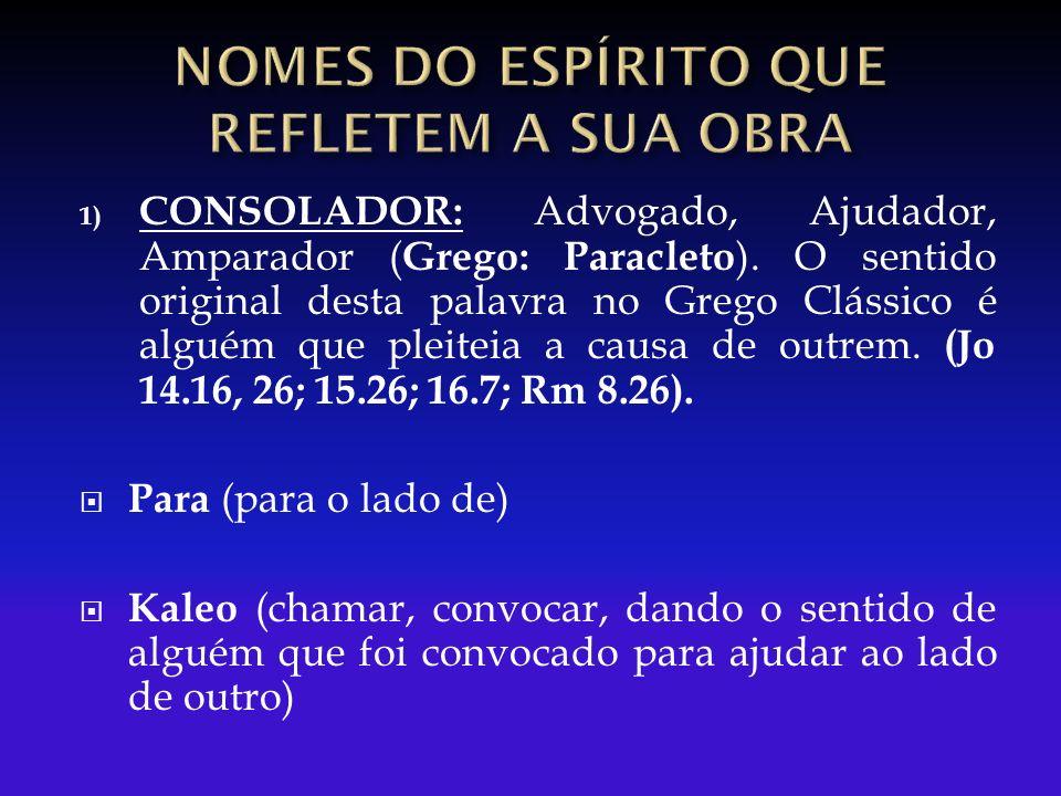 1) CONSOLADOR: Advogado, Ajudador, Amparador ( Grego: Paracleto ).