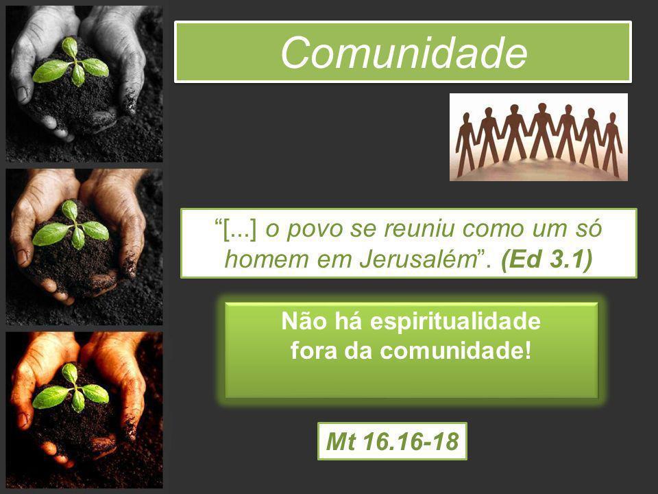 Comunidade [...] o povo se reuniu como um só homem em Jerusalém. (Ed 3.1) Não há espiritualidade fora da comunidade! Não há espiritualidade fora da co