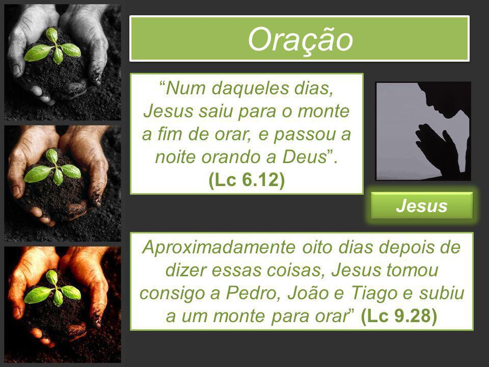 Oração Jesus Aproximadamente oito dias depois de dizer essas coisas, Jesus tomou consigo a Pedro, João e Tiago e subiu a um monte para orar (Lc 9.28)