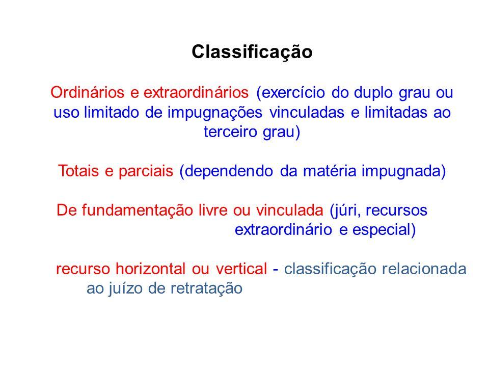 Classificação Ordinários e extraordinários (exercício do duplo grau ou uso limitado de impugnações vinculadas e limitadas ao terceiro grau) Totais e p