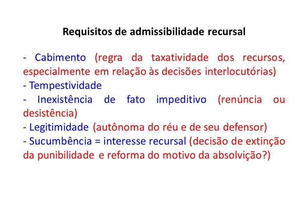Requisitos de admissibilidade recursal - Cabimento (regra da taxatividade dos recursos, especialmente em relação às decisões interlocutórias) - Tempestividade - Inexistência de fato impeditivo (renúncia ou desistência) - Legitimidade (autônoma do réu e de seu defensor) - Sucumbência = interesse recursal (decisão de extinção da punibilidade e reforma do motivo da absolvição?)
