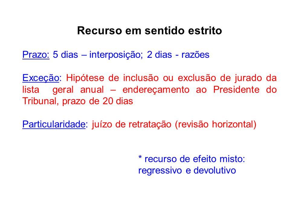 Recurso em sentido estrito Prazo: 5 dias – interposição; 2 dias - razões Exceção: Hipótese de inclusão ou exclusão de jurado da lista geral anual – en